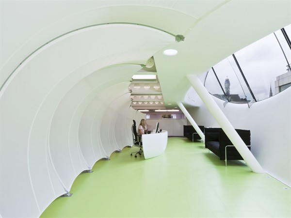 Curved Fabric Wall, Dentsu, Central London