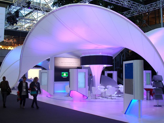 Exhibition Stand Fabric : Fabric wave canopy pharmaceutical stand copenhagen