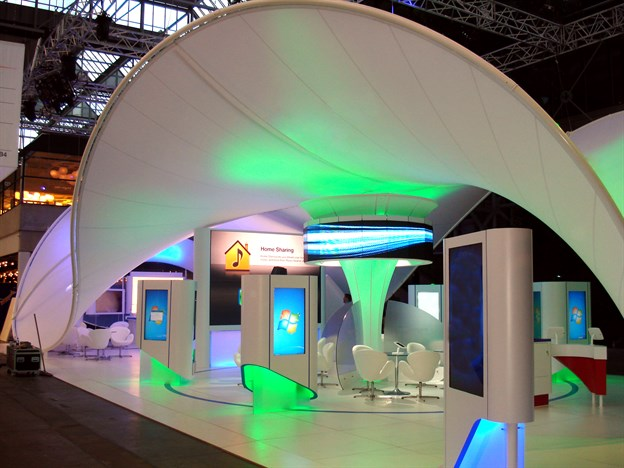 Fabric Exhibition Stand Years : Fabric wave canopy pharmaceutical stand copenhagen