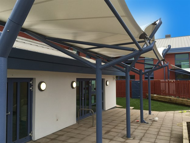 Walkway Canopies & Walkway Canopies | Henry Bloom School Isle of Man
