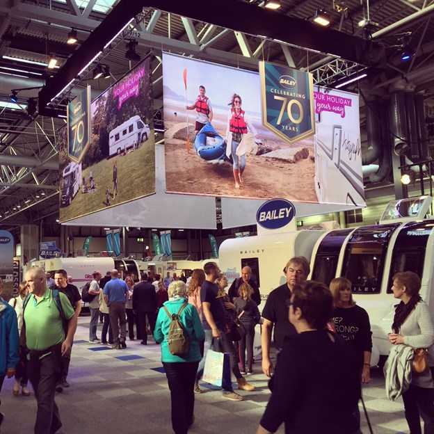 D Printing Exhibition Nec : Overhead branding printed exhibition banners bailey caravans at